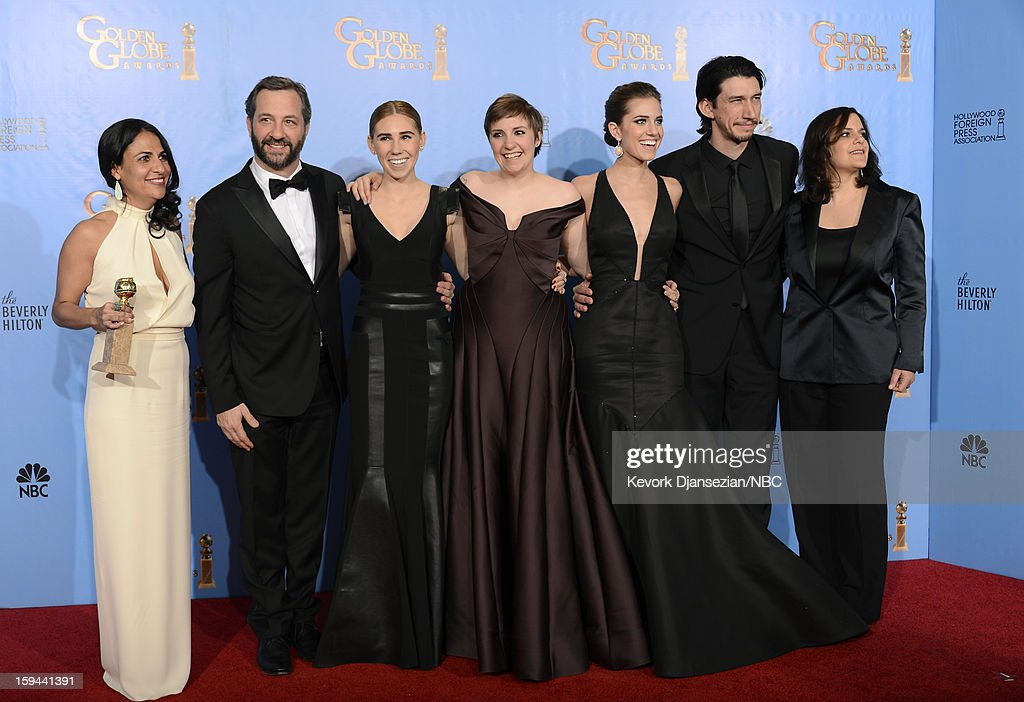 70th ANNUAL GOLDEN GLOBE AWARDS -- Pictured: (L-R) Writer/Producer Jennifer Konner, director Judd Apatow, actresses Zosia Mamet, Lena Dunham (winner Best Actress in a Television Series, Comedy or Musical for 'Girls'), Allison Williams, actor Adam Driver and producer Ilene S. Landress of 'Girls', winner Best Television Series, Comedy or Musical, pose in the press room at the 70th Annual Golden Globe Awards held at the Beverly Hilton Hotel on January 13, 2013