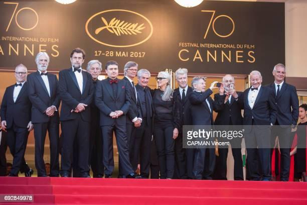 70th edition of the Cannes international film festival in Cannes Thierry Fremaux Michael Haneke Nanni Moretti Costa Gavras Cristian Mungiu Bille...
