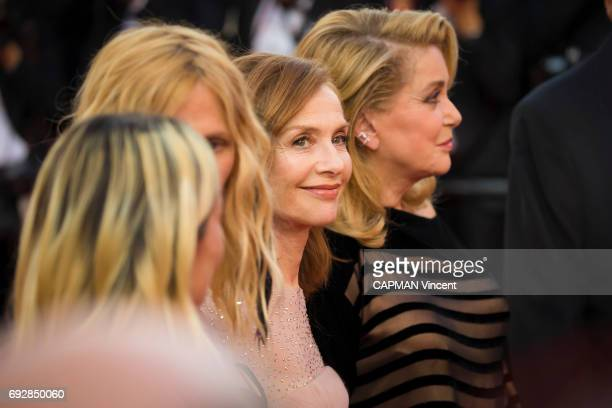 70th edition of the Cannes international film festival in Cannes Actrice Sandrine Kiberlain Isabelle Huppert and Catherine Deneuve May 22 2017