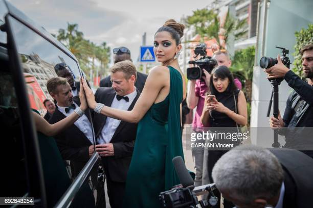 70th edition of the Cannes International Film Festival Indian actress Deepika Padukone wearing Brandon Maxwell leaving the Martinez hotel in Cannes...