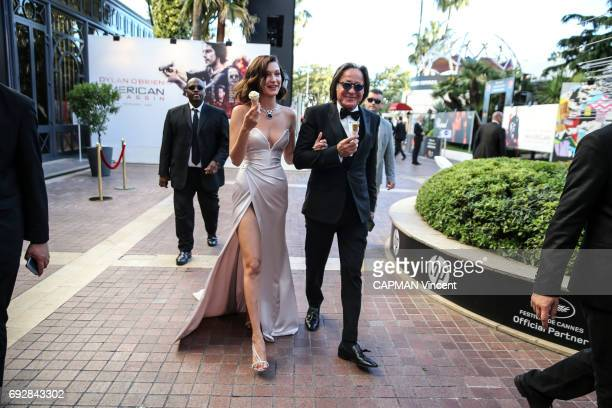 70th edition of the Cannes International Film Festival Model Bella Hadid wearing Alexandre Vauthier and her father Mohamed Hadid leaving the Majestic...