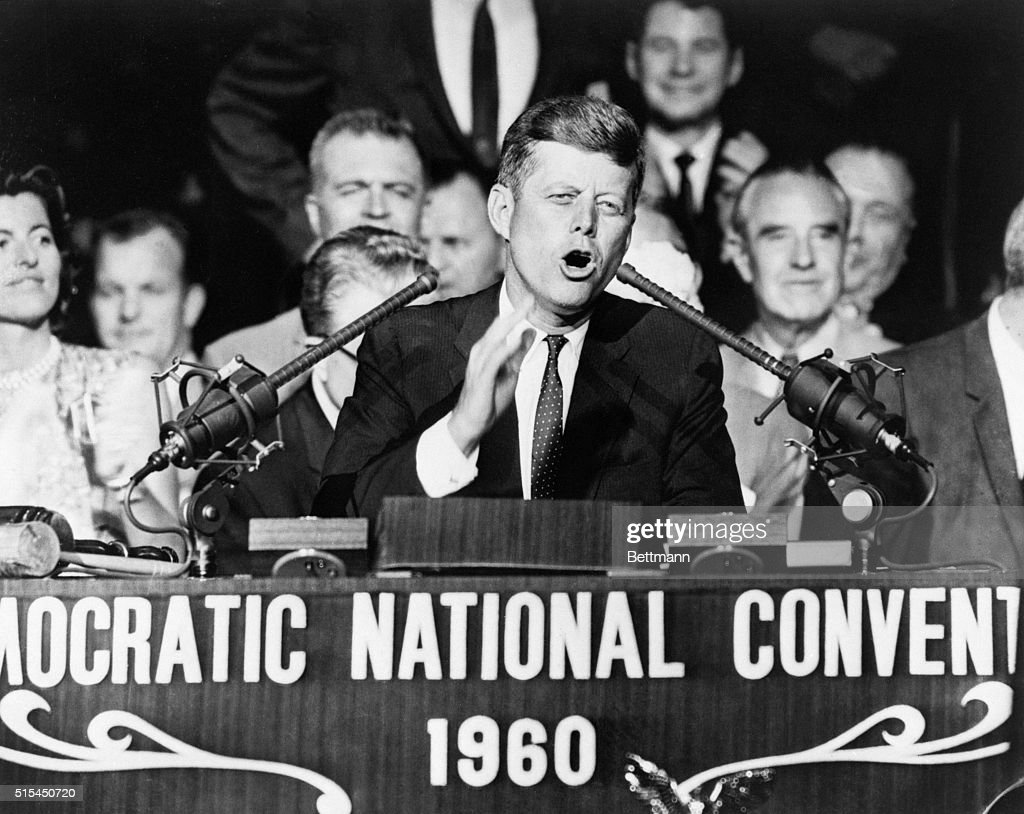 Los Angeles, CA- Sen. John F. Kennedy, 1960 Democratic Presidential nomninee, thanks the Democratic National Convention for selecting him here, July 13. Kennedy won the nomination with a smashing first-ballot victory that will pit him against Vice-President Richard M. Nixon in the November election. Kennedy told the convention that 'We shall carry the fight to the people... And we shall win.'