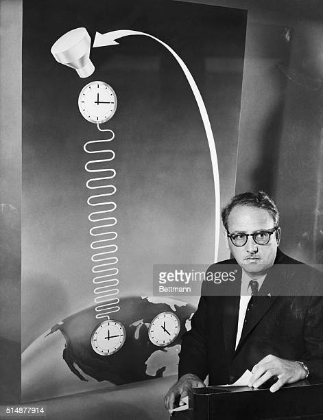 7/1/59Culver City California A revolutionary experiment in which an 'atomic clock' mounted in an orbiting satellite is to check Einstein's theory of...