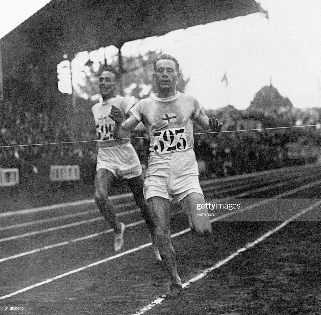 Paris, France- Paavo Nurmi, Finland, Winning the 5,000-meter race. Ritole finishes second, one yard behind Nurmi. Nurmi is called Wonder Man of the 1924 Olympics.