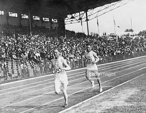 7/19/1924Paris France Paavo Nurmi of Finland shown leading Willie Ritola of Finland in the 5000meter race