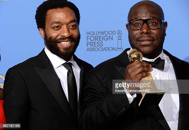 71st ANNUAL GOLDEN GLOBE AWARDS Pictured Actor Chiwetel Ejiofor and director Steve McQueen winner of Best Motion Picture Drama for '12 Years a Slave'...