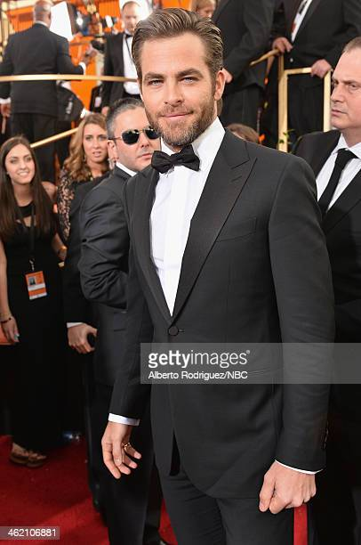71st ANNUAL GOLDEN GLOBE AWARDS Pictured Actor Chris Pine arrives to the 71st Annual Golden Globe Awards held at the Beverly Hilton Hotel on January...