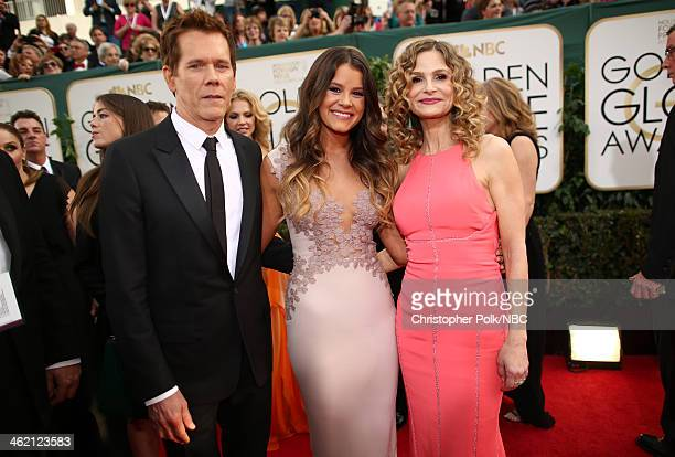 71st ANNUAL GOLDEN GLOBE AWARDS Pictured Actor Kevin Bacon Miss Golden Globe Sosie Bacon and actress Kyra Sedgwick arrive to the 71st Annual Golden...