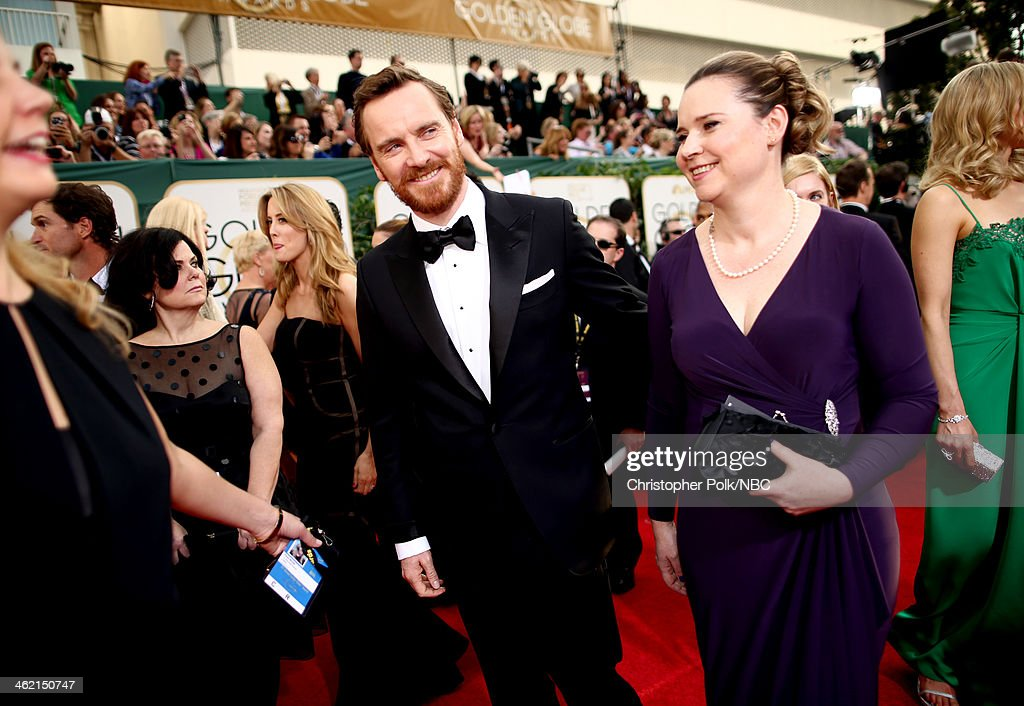 71st ANNUAL GOLDEN GLOBE AWARDS -- Pictured: (l-r) Actor <a gi-track='captionPersonalityLinkClicked' href=/galleries/search?phrase=Michael+Fassbender&family=editorial&specificpeople=4157925 ng-click='$event.stopPropagation()'>Michael Fassbender</a>, sister Catherine Fassbender arrive to the 71st Annual Golden Globe Awards held at the Beverly Hilton Hotel on January 12, 2014 --