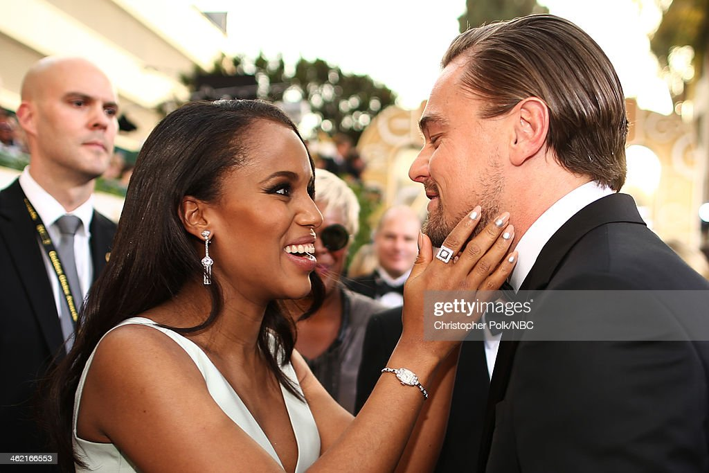 71st ANNUAL GOLDEN GLOBE AWARDS -- Pictured: (l-r) Actors <a gi-track='captionPersonalityLinkClicked' href=/galleries/search?phrase=Kerry+Washington&family=editorial&specificpeople=201534 ng-click='$event.stopPropagation()'>Kerry Washington</a> and <a gi-track='captionPersonalityLinkClicked' href=/galleries/search?phrase=Leonardo+DiCaprio&family=editorial&specificpeople=201635 ng-click='$event.stopPropagation()'>Leonardo DiCaprio</a> arrive to the 71st Annual Golden Globe Awards held at the Beverly Hilton Hotel on January 12, 2014 --