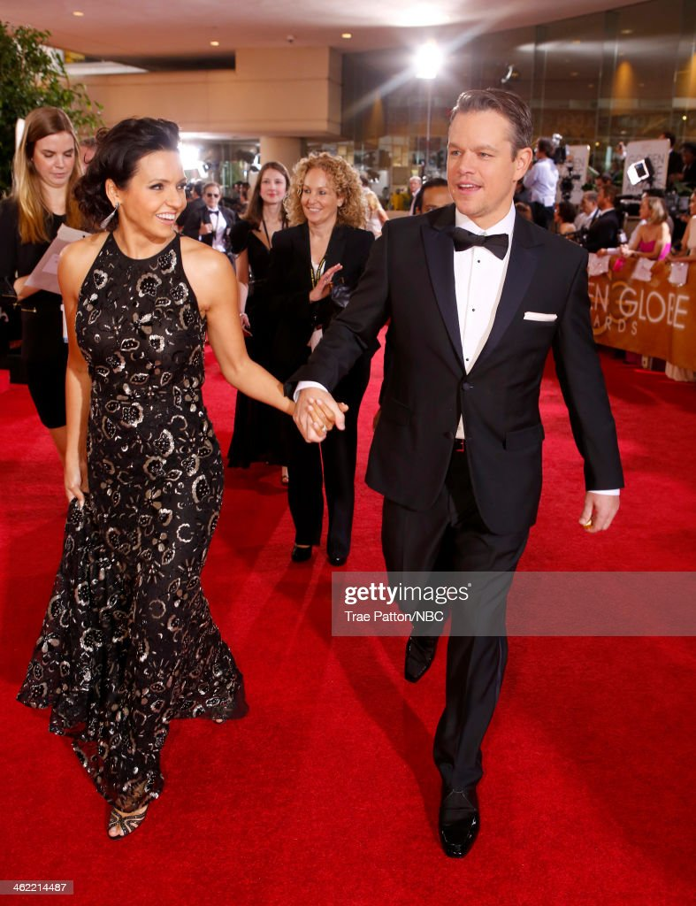 71st ANNUAL GOLDEN GLOBE AWARDS -- Pictured: (l-r) Actors Luciana Barroso and <a gi-track='captionPersonalityLinkClicked' href=/galleries/search?phrase=Matt+Damon&family=editorial&specificpeople=202093 ng-click='$event.stopPropagation()'>Matt Damon</a> arrive to the 71st Annual Golden Globe Awards held at the Beverly Hilton Hotel on January 12, 2014 --