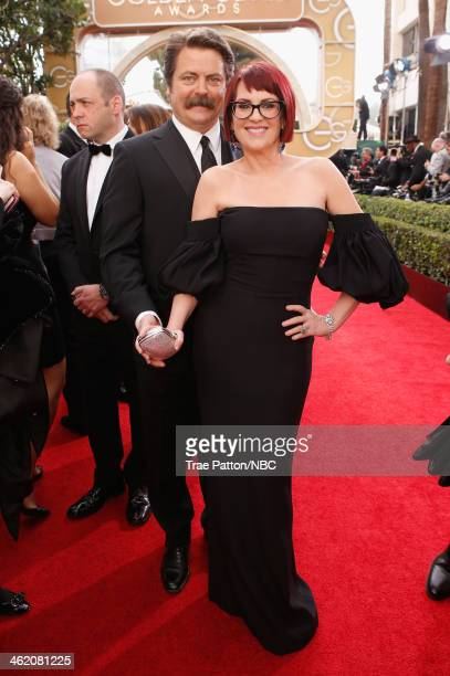 71st ANNUAL GOLDEN GLOBE AWARDS Pictured Actors Nick Offerman and Megan Mullally arrive to the 71st Annual Golden Globe Awards held at the Beverly...