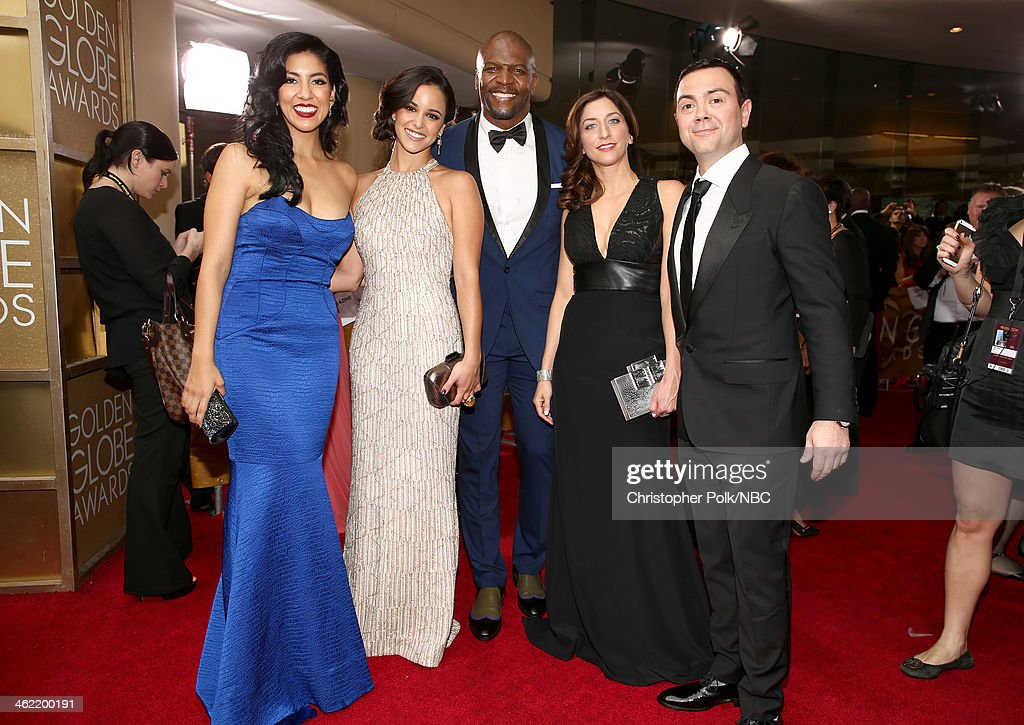 71st ANNUAL GOLDEN GLOBE AWARDS -- Pictured: (l-r) Actors Stephanie Beatriz, Melissa Fumero, <a gi-track='captionPersonalityLinkClicked' href=/galleries/search?phrase=Terry+Crews&family=editorial&specificpeople=569932 ng-click='$event.stopPropagation()'>Terry Crews</a>, Chelsea Peretti, and <a gi-track='captionPersonalityLinkClicked' href=/galleries/search?phrase=Joe+Lo+Truglio&family=editorial&specificpeople=561393 ng-click='$event.stopPropagation()'>Joe Lo Truglio</a> of 'Brooklyn Nine-Nine' arrive to the 71st Annual Golden Globe Awards held at the Beverly Hilton Hotel on January 12, 2014 --