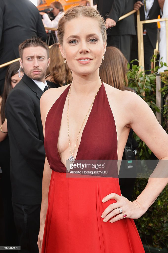 71st ANNUAL GOLDEN GLOBE AWARDS Pictured Actress Amy Adams arrives to the 71st Annual Golden Globe Awards held at the Beverly Hilton Hotel on January...
