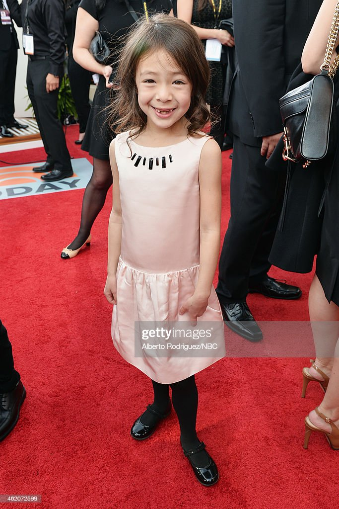 71st ANNUAL GOLDEN GLOBE AWARDS Pictured Actress Aubrey AndersonEmmons arrives to the 71st Annual Golden Globe Awards held at the Beverly Hilton...
