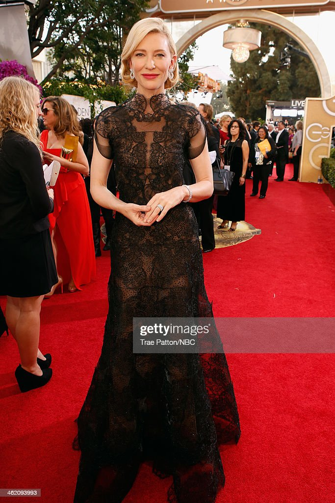 71st ANNUAL GOLDEN GLOBE AWARDS Pictured Actress Cate Blanchett arrives to the 71st Annual Golden Globe Awards held at the Beverly Hilton Hotel on...