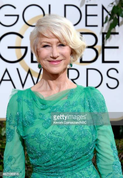 71st ANNUAL GOLDEN GLOBE AWARDS Pictured Actress Dame Helen Mirren arrives to the 71st Annual Golden Globe Awards held at the Beverly Hilton Hotel on...