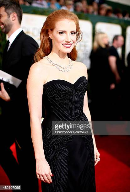 71st ANNUAL GOLDEN GLOBE AWARDS Pictured Actress Jessica Chastain arrives to the 71st Annual Golden Globe Awards held at the Beverly Hilton Hotel on...