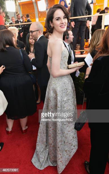 71st ANNUAL GOLDEN GLOBE AWARDS Pictured Actress Michelle Dockery arrives to the 71st Annual Golden Globe Awards held at the Beverly Hilton Hotel on...