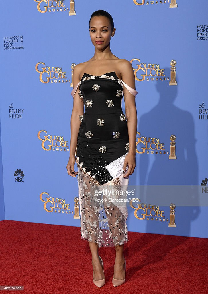 71st ANNUAL GOLDEN GLOBE AWARDS -- Pictured: Actress <a gi-track='captionPersonalityLinkClicked' href=/galleries/search?phrase=Zoe+Saldana&family=editorial&specificpeople=542691 ng-click='$event.stopPropagation()'>Zoe Saldana</a> poses in the press room at the 71st Annual Golden Globe Awards held at the Beverly Hilton Hotel on January 12, 2014 --