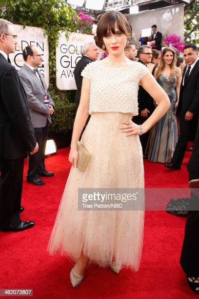 71st ANNUAL GOLDEN GLOBE AWARDS Pictured Actress Zooey Deschanel arrives to the 71st Annual Golden Globe Awards held at the Beverly Hilton Hotel on...