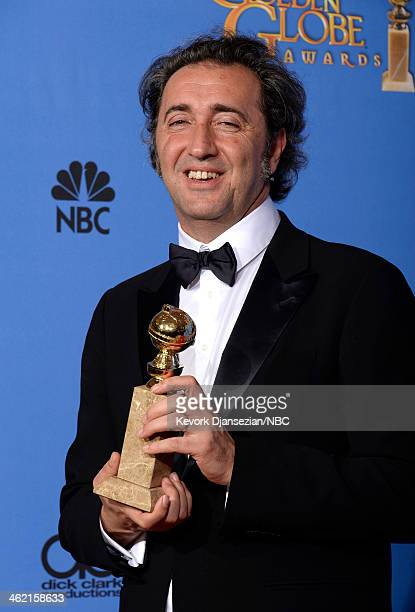 71st ANNUAL GOLDEN GLOBE AWARDS Pictured Director Paolo Sorrentino poses with his award for Best Foreign Language Film for 'The Great Beauty' in the...