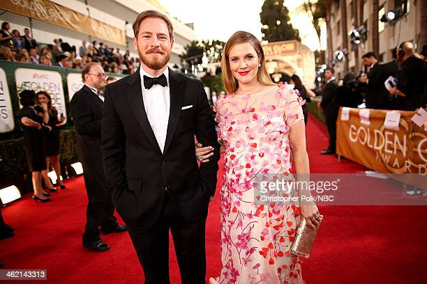 71st ANNUAL GOLDEN GLOBE AWARDS Pictured Will Kopelman and actress Drew Barrymore arrive to the 71st Annual Golden Globe Awards held at the Beverly...