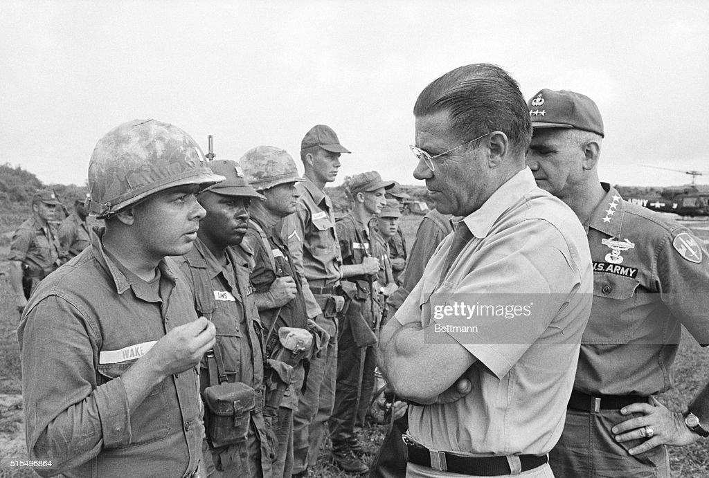 7/20/1965Bien Hoa South Vietnam Defense Secretary Robert S McNamara gets a firsthand opinion on front line action from Lieutenant Van Buren Wake Jr...
