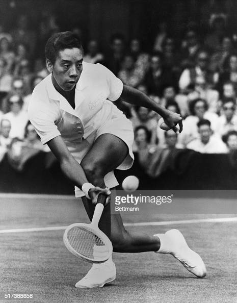 7/2/1951London England Althea Gibson in a Wimbledon match which she lost with Beverly Baker