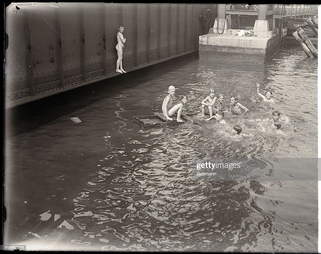 Long Island City, New York, NYPhoto shows boys swimming in