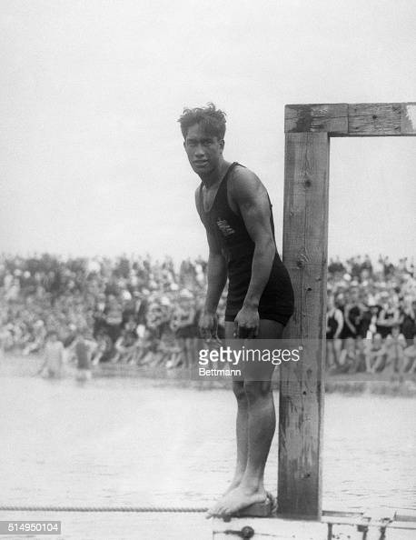 7/25/1920Manhattan Beach CA Duke Kahanamoku of Hawaii is shown about to dive into the water during a farewell tournament at Manhattan Beach CA The...