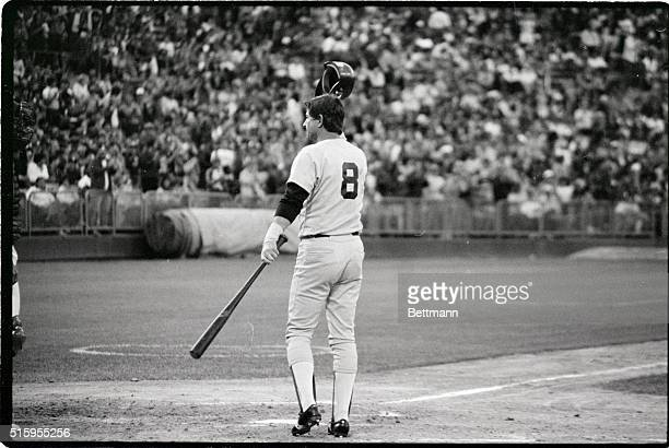 7/26/1983Oakland CABoston Red Sox DH Carl Yastrzemski tips his hat and acknowledges a standing ovation given to him by fans in Oakland CA as he took...