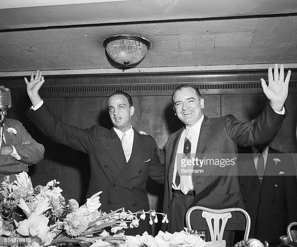 7/28/1954New York NY Former Chief Counsel for the Senate Investigations Subcommittee Roy Cohn left and Senator Joseph R McCarthy WI Chairman of the...