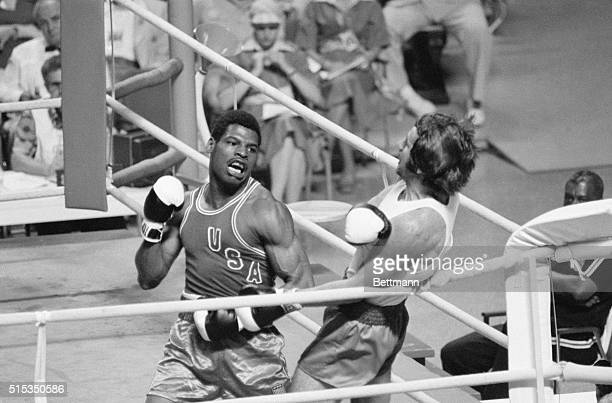 7/29/1976Montreal CanadaUSA's Leon Spinks of St Louis Missouri had no trouble in scoring a unanimous decision over Poland's Janusz Gortat during...