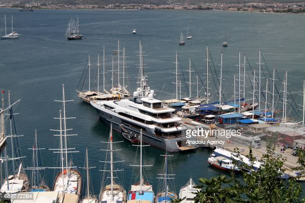 72m long 'Queen K' a luxury yacht belonging to the Russian businessman Oleg Deripaska is anchored at Fethiye port in Fethiye district of Mugla Turkey...