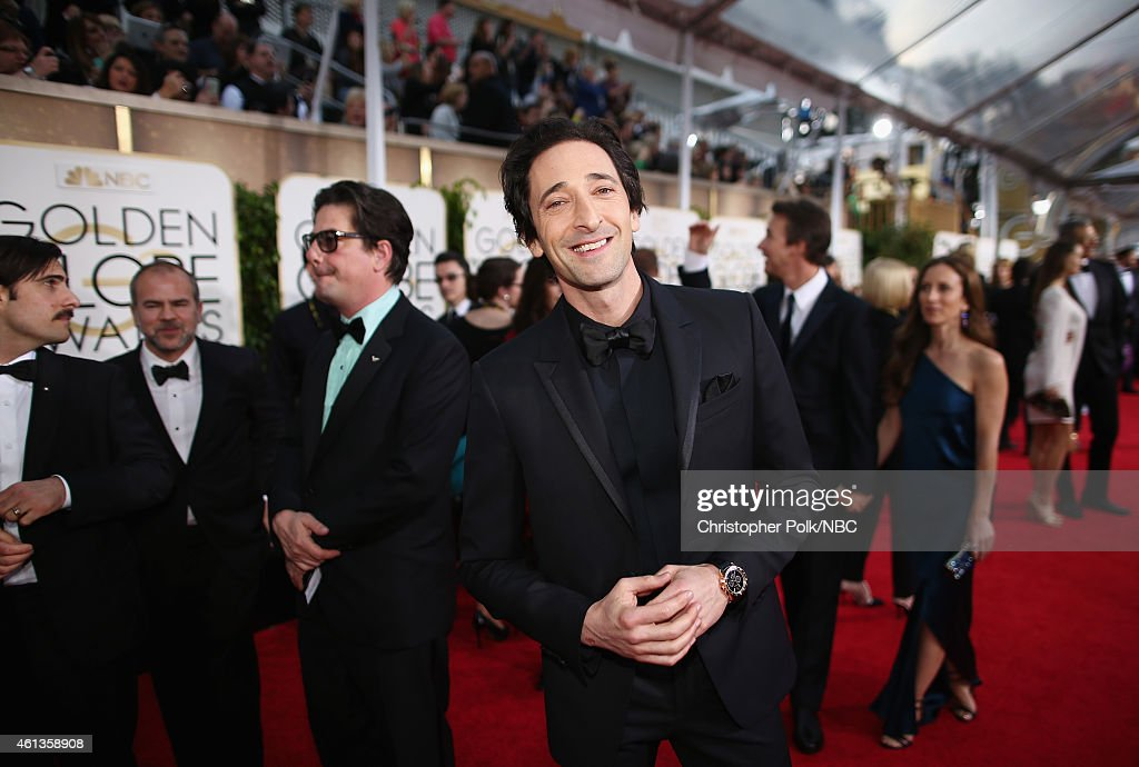 72nd ANNUAL GOLDEN GLOBE AWARDS -- Pictured: Actor <a gi-track='captionPersonalityLinkClicked' href=/galleries/search?phrase=Adrien+Brody&family=editorial&specificpeople=202175 ng-click='$event.stopPropagation()'>Adrien Brody</a> arrives to the 72nd Annual Golden Globe Awards held at the Beverly Hilton Hotel on January 11, 2015.