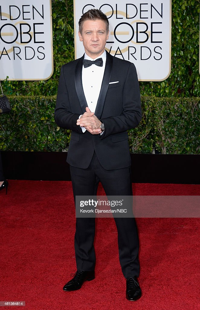 72nd ANNUAL GOLDEN GLOBE AWARDS -- Pictured: Actor <a gi-track='captionPersonalityLinkClicked' href=/galleries/search?phrase=Jeremy+Renner&family=editorial&specificpeople=708701 ng-click='$event.stopPropagation()'>Jeremy Renner</a> arrives to the 72nd Annual Golden Globe Awards held at the Beverly Hilton Hotel on January 11, 2015.