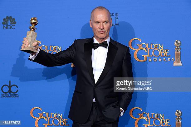 72nd ANNUAL GOLDEN GLOBE AWARDS Pictured Actor Michael Keaton winner of Lead Actor in a Motion Picture Comedy or Musical for 'Birdman' poses in the...