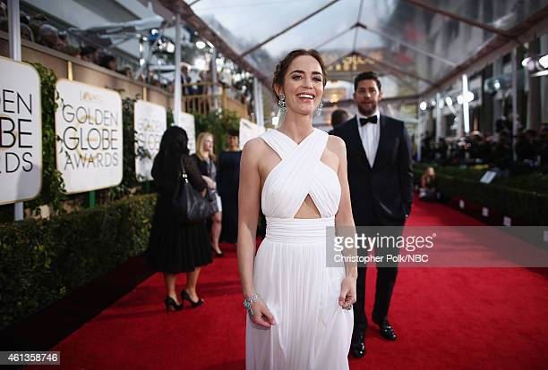 72nd ANNUAL GOLDEN GLOBE AWARDS Pictured Actors Emily Blunt and John Krasinski arrive to the 72nd Annual Golden Globe Awards held at the Beverly...