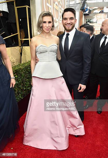 72nd ANNUAL GOLDEN GLOBE AWARDS Pictured Actors Zosia Mamet and Evan Jonigkeit arrive to the 72nd Annual Golden Globe Awards held at the Beverly...