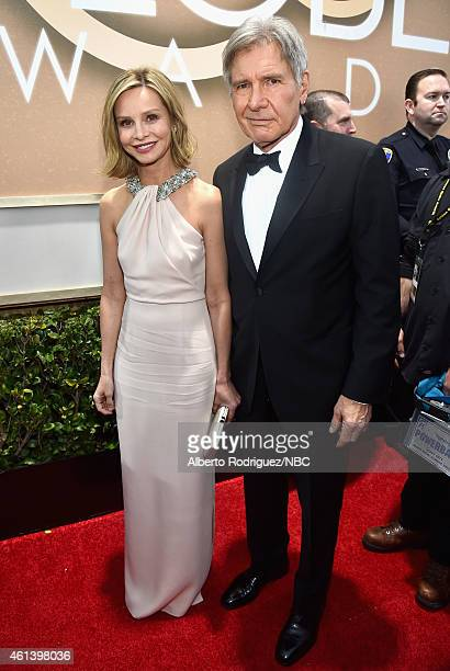 72nd ANNUAL GOLDEN GLOBE AWARDS Pictured Actress Calista Flockhart and actor Harrison Ford arrive to the 72nd Annual Golden Globe Awards held at the...