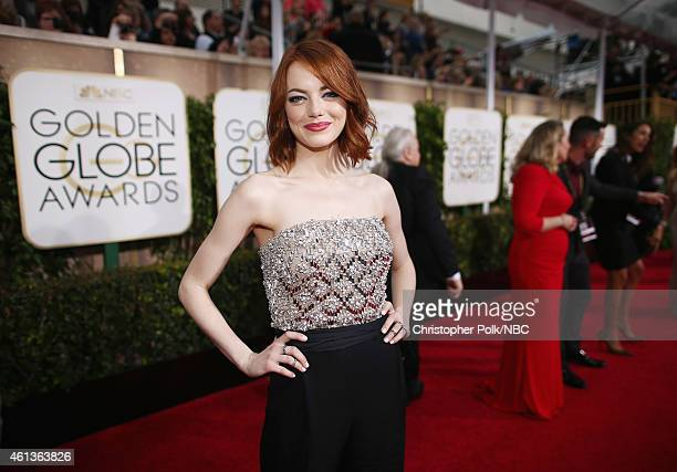 72nd ANNUAL GOLDEN GLOBE AWARDS Pictured Actress Emma Stone arrives to the 72nd Annual Golden Globe Awards held at the Beverly Hilton Hotel on...
