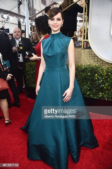 72nd ANNUAL GOLDEN GLOBE AWARDS Pictured Actress Felicity Jones arrives to the 72nd Annual Golden Globe Awards held at the Beverly Hilton Hotel on...