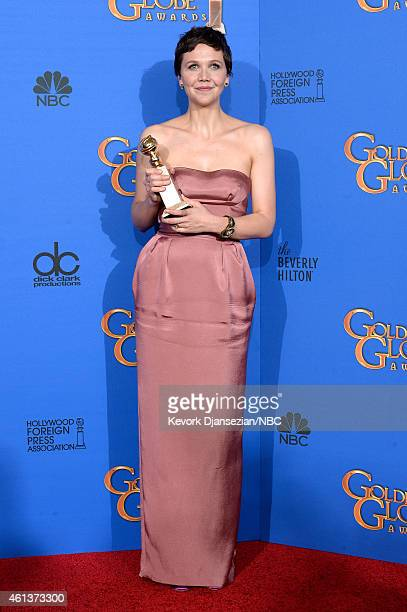 72nd ANNUAL GOLDEN GLOBE AWARDS Pictured Actress Maggie Gyllenhaal winner of the Best Actress in a MiniSeries or TV Movie for 'The Honourable Woman'...