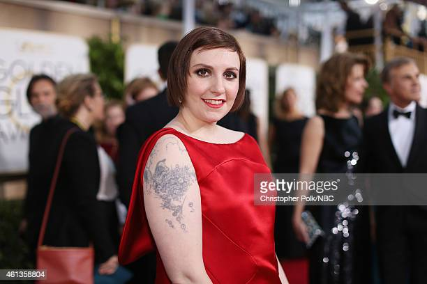 72nd ANNUAL GOLDEN GLOBE AWARDS Pictured Actress/writer Lena Dunham arrives to the 72nd Annual Golden Globe Awards held at the Beverly Hilton Hotel...