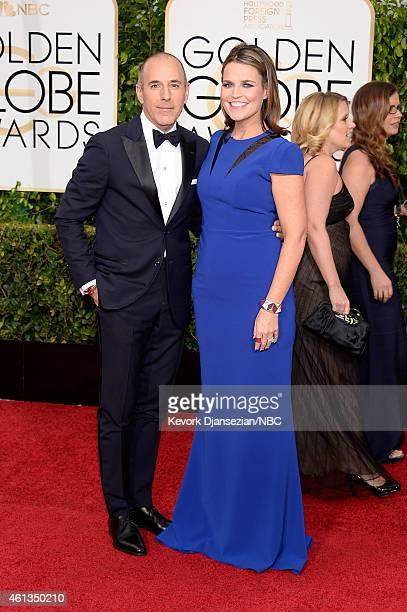 72nd ANNUAL GOLDEN GLOBE AWARDS Pictured Journalists Matt Lauer and Savannah Guthrie arrive to the 72nd Annual Golden Globe Awards held at the...