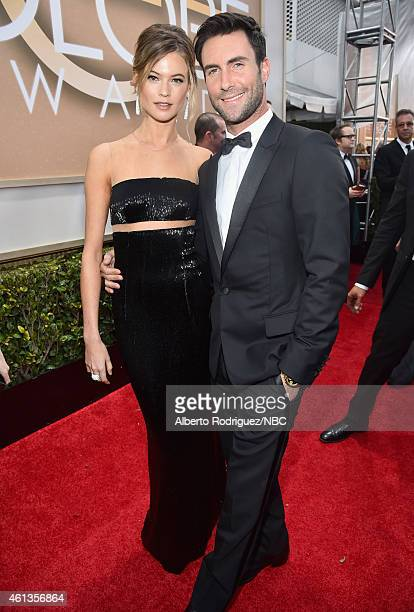 72nd ANNUAL GOLDEN GLOBE AWARDS Pictured Model Behati Prinsloo and recording artist Adam Levine arrive to the 72nd Annual Golden Globe Awards held at...