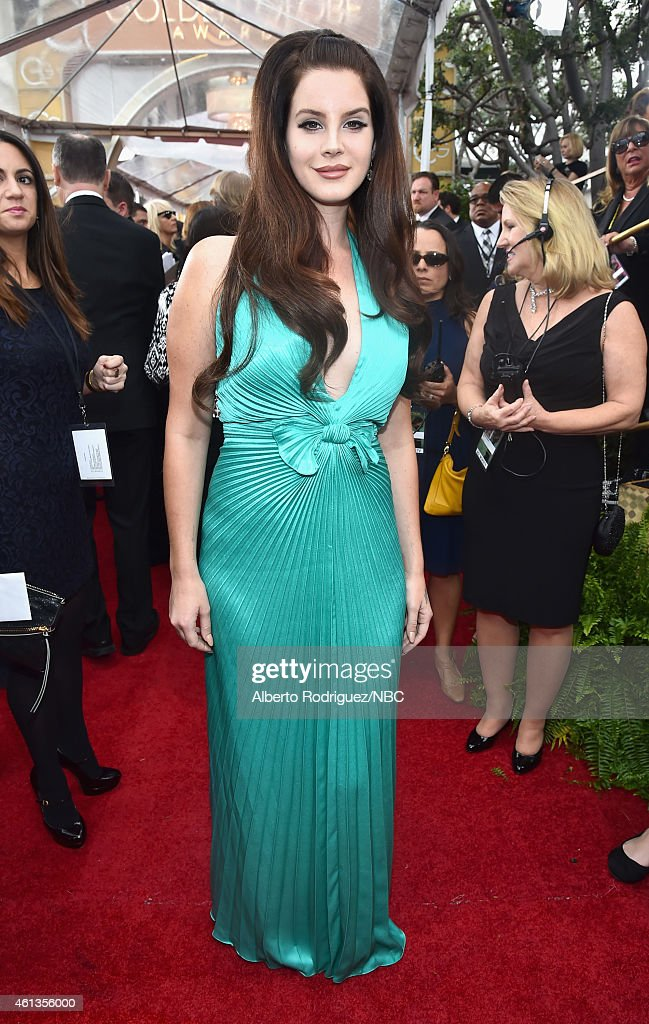 72nd ANNUAL GOLDEN GLOBE AWARDS -- Pictured: Singer <a gi-track='captionPersonalityLinkClicked' href=/galleries/search?phrase=Lana+Del+Rey&family=editorial&specificpeople=8565478 ng-click='$event.stopPropagation()'>Lana Del Rey</a> arrives to the 72nd Annual Golden Globe Awards held at the Beverly Hilton Hotel on January 11, 2015.