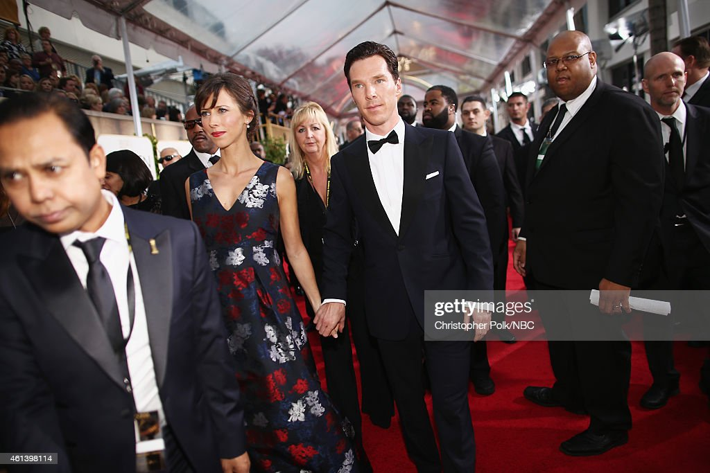 72nd ANNUAL GOLDEN GLOBE AWARDS -- Pictured: (l-r) Theatre director Sophie Hunter and actor Benedict Cumberbatch arrive to the 72nd Annual Golden Globe Awards held at the Beverly Hilton Hotel on January 11, 2015.