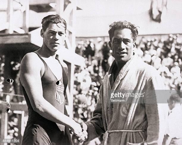 7/30/1924Paris France The 1924 Olympic swimmers in France Duke Kahanamoku and Johnny Weismuller both from the United States shake hands
